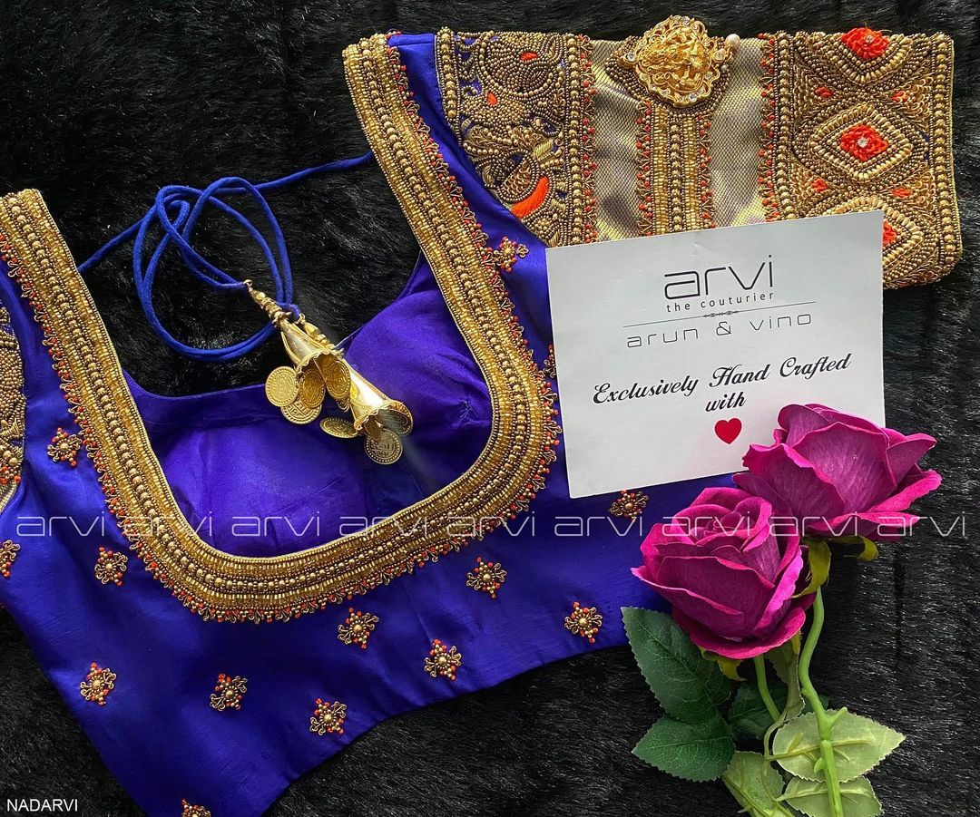 Lovely royal blue color bridal blouse with heavy aari work.  2021-06-18
