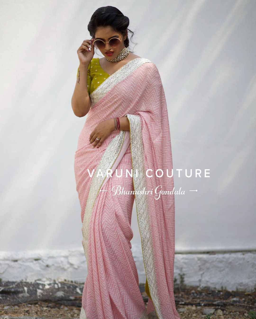 Blush pink chevron printed chiffon saree is now back on racks  For orders WhatsApp  on 9121017226 Email varunicouturehyd@gmail.com. 2021-06-18