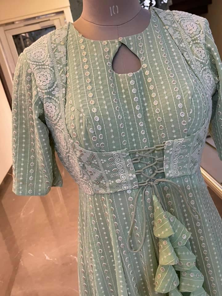 Stunning olive green color floor length Georgette chickenkari dress. 2021-06-19