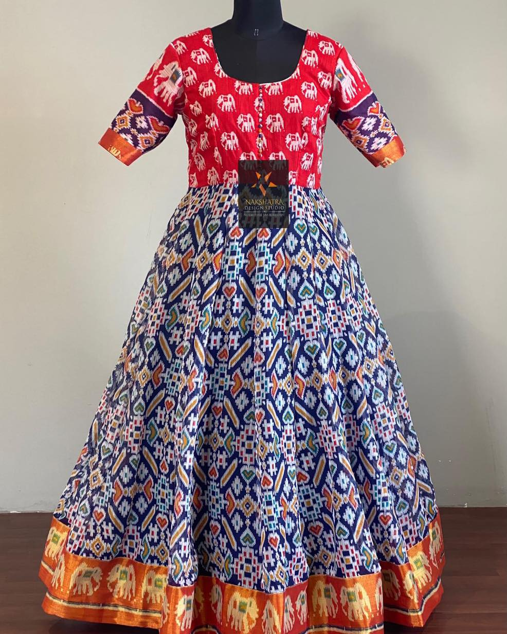 Lenin jute blend ikkath printed long frocks perfect for small get together's this summer .  2021-06-19