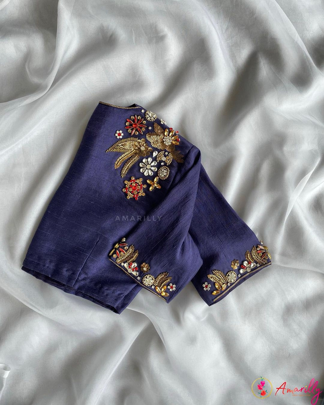 Stunning deep blue color high neck blouse with floral hand embroidery zardosi work.  2021-06-19
