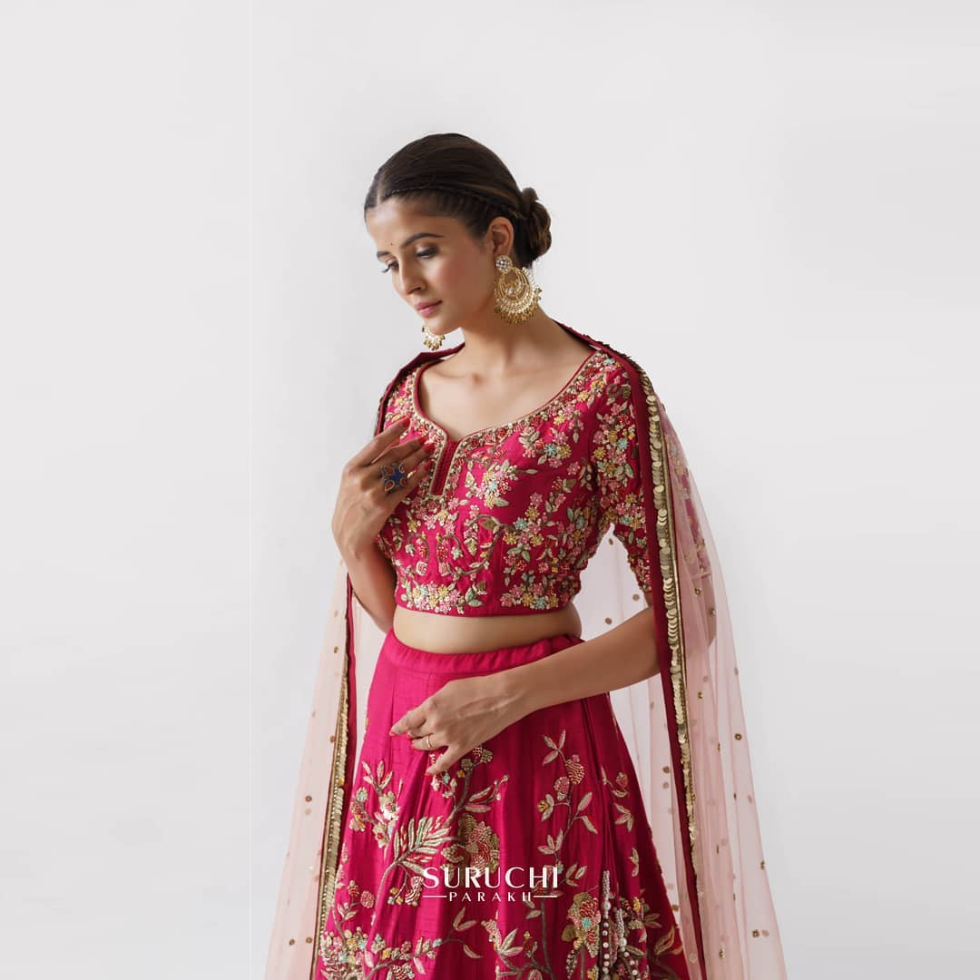 Beautiful wine color bridal lehenga and blouse with blush pink net dupatta. Bridal lehenga and blouse with hand embroidery work.  2021-06-19