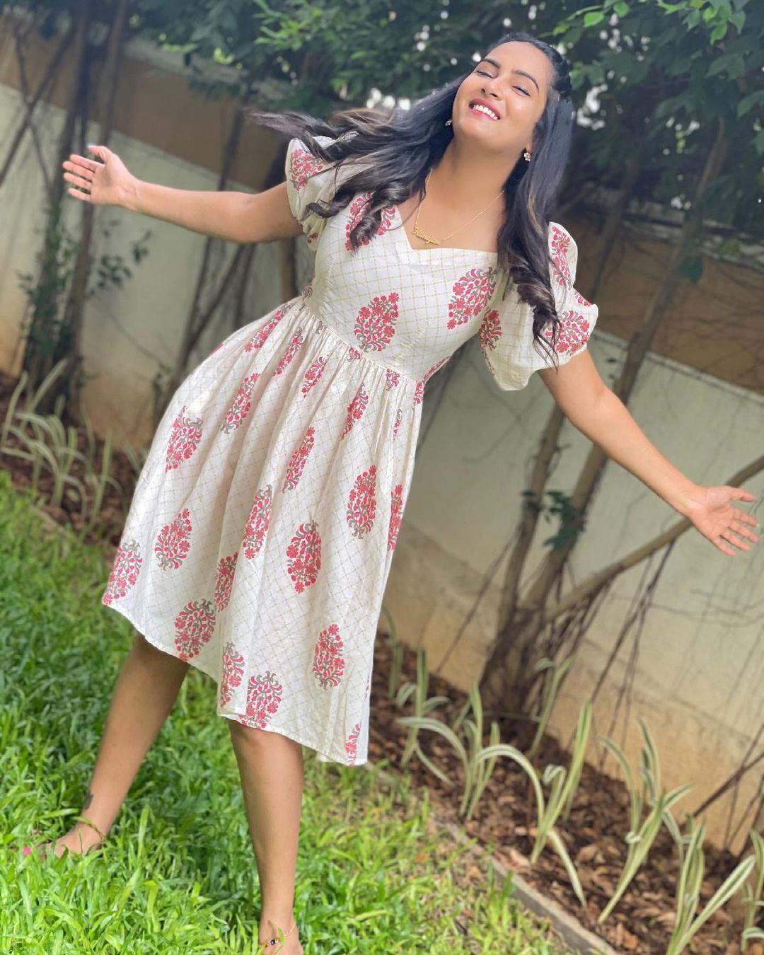 Beautiful actress Himaja in knee length gown.  2021-06-19