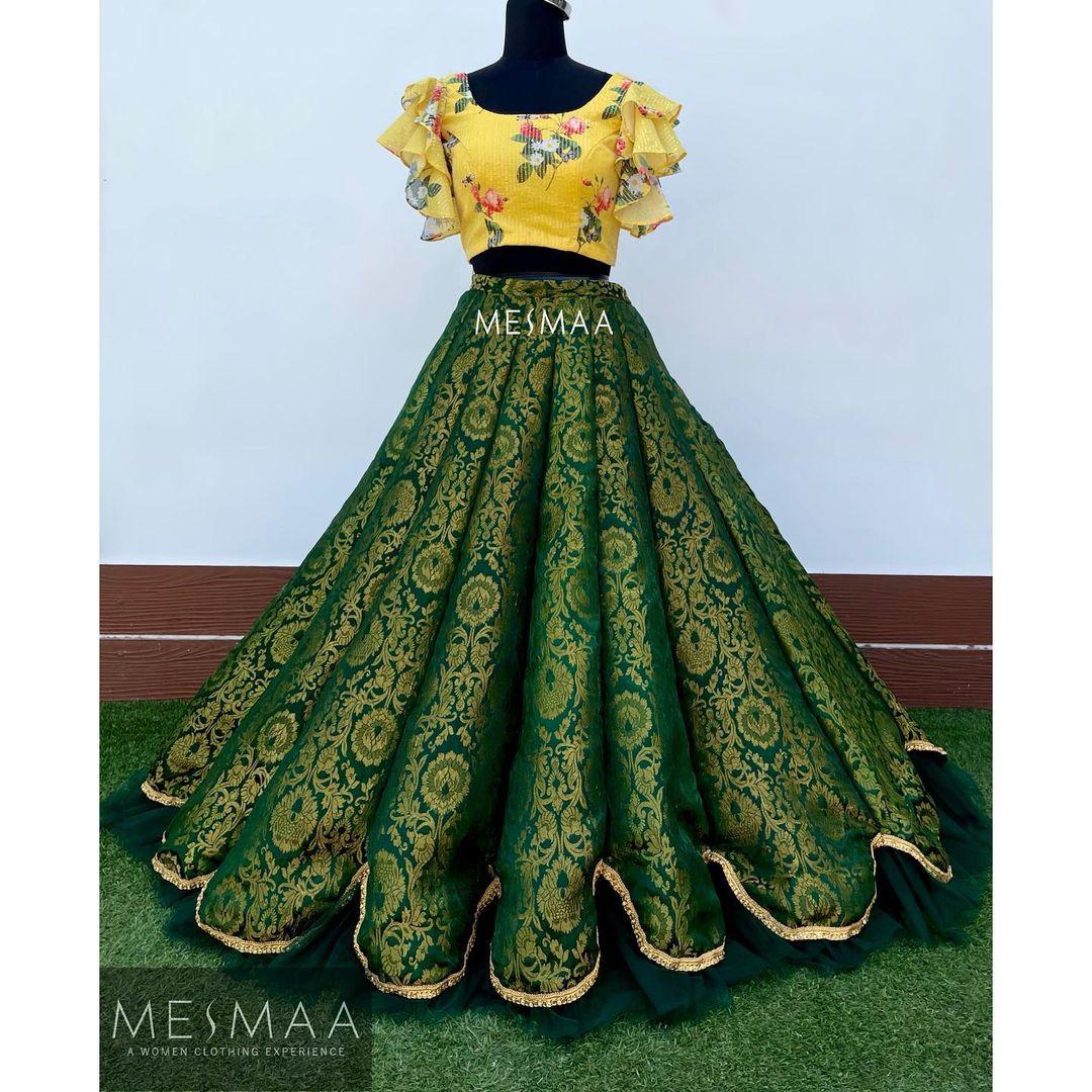 Stunning green brocade skirt and yellow floral ruffle sleeve crop top. 2021-06-19