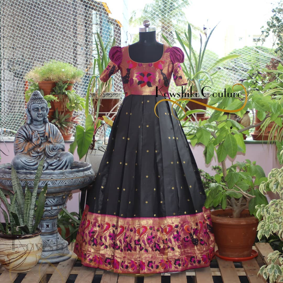 Stunning black color  Paithani Long frock with puff sleeves. 2021-06-19