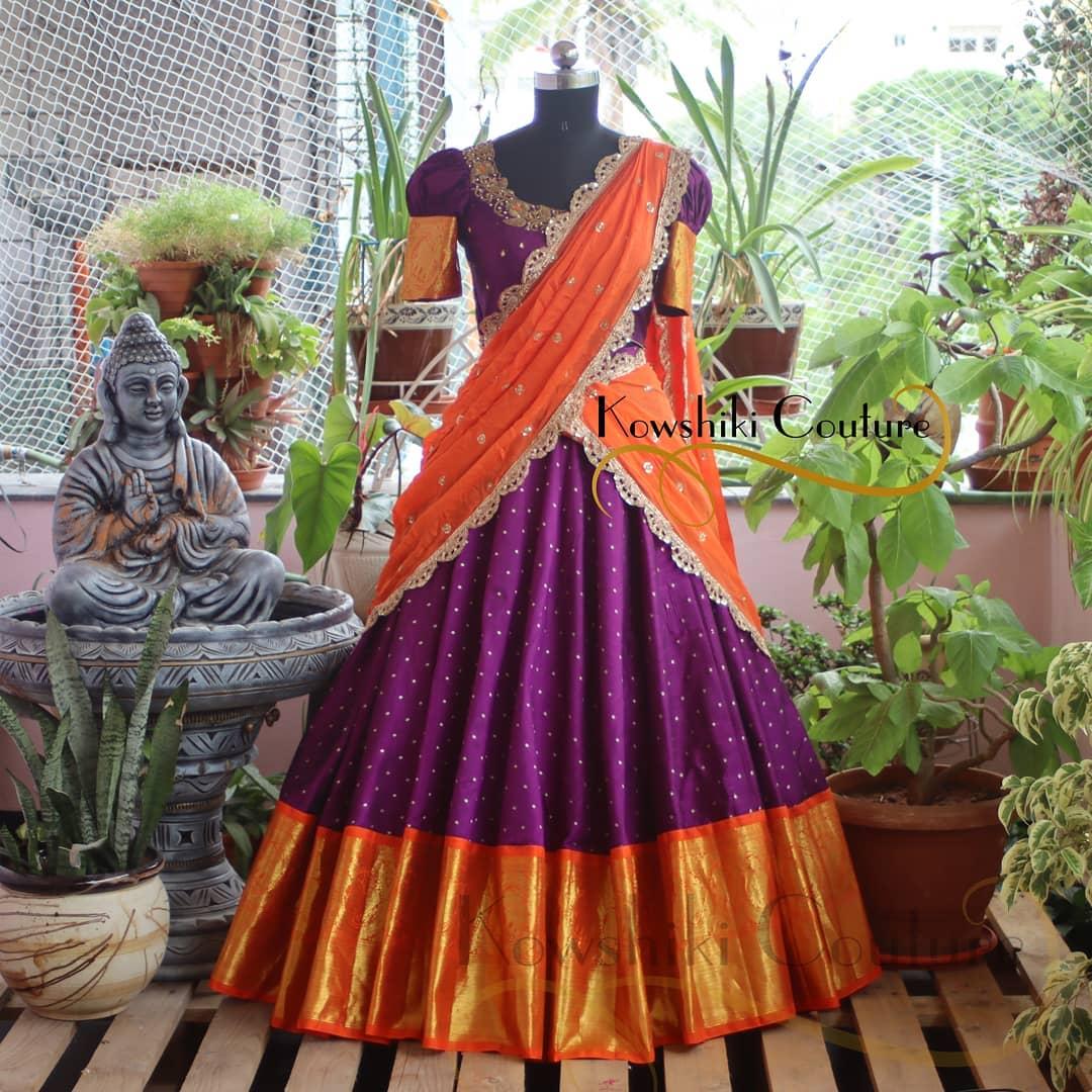 Kanchi Pattu half Saree in dark Purple and orange combo. 2021-06-19