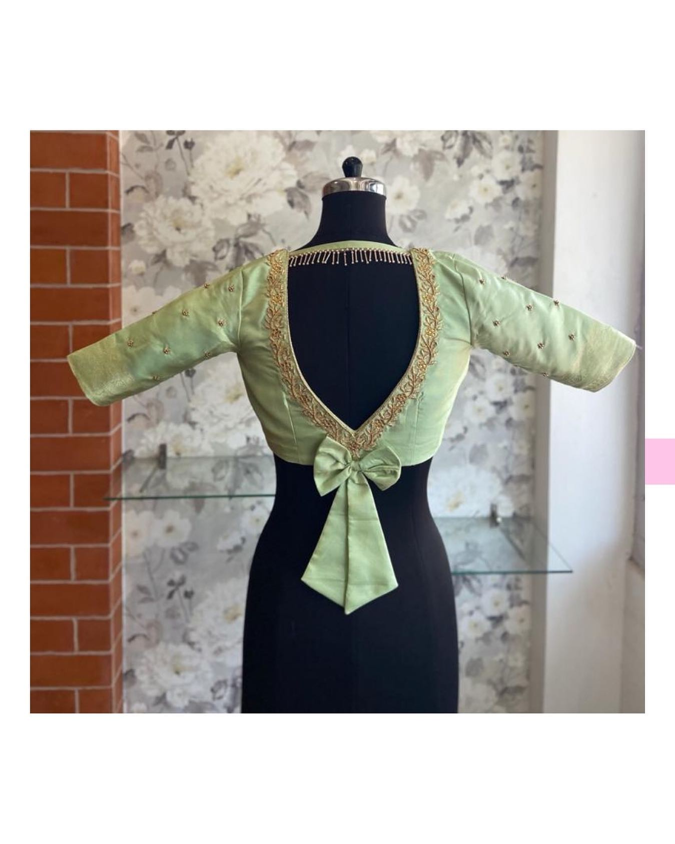We make all back look good. Gorgeous olive green color blouse back with bow and hand embroidery work on neckline.  2021-06-20