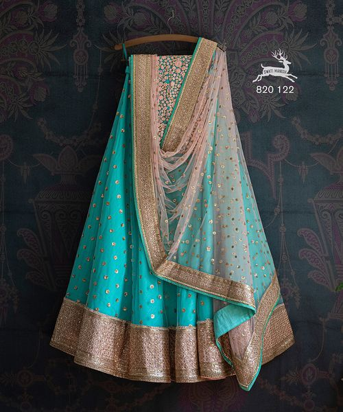 Price : ₹ 42800 Indian Rupee  SMF LEH 820 122.  Neon blue sequin Lehengas and baby pink sequin dupatta with thread-work matching sequin blouse 2021-06-20