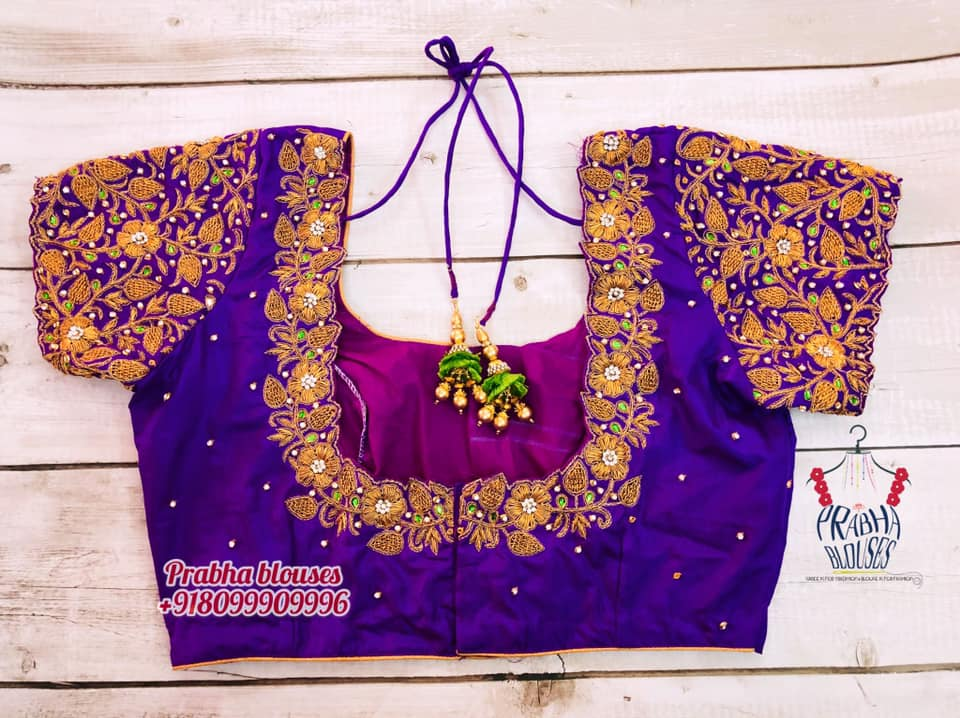 Gorgeous royal blue color bridal blouse with gold thread maggam work. 2021-06-20