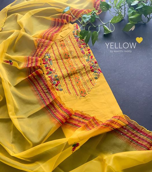 Soft muslin kurti with Patola printed flare heavy handworked yoke with thread and sequins . Paired up with beautiful scalloped organza dupatta  Size - XL  XXL  Price - 3899 INR  . . Kindly WhatsApp  at 7995038888 for placing orders . 2021-06-20