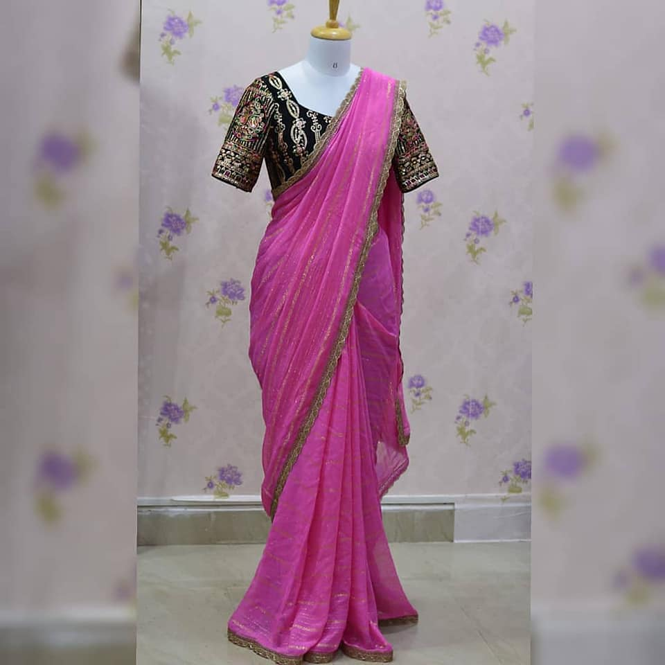 Baby pink pure Georgette saree paired up with heavy  jari Embroidery work Georgette blouse.  Blouse size can be customized.  Price : 4000+₹ 2021-06-20