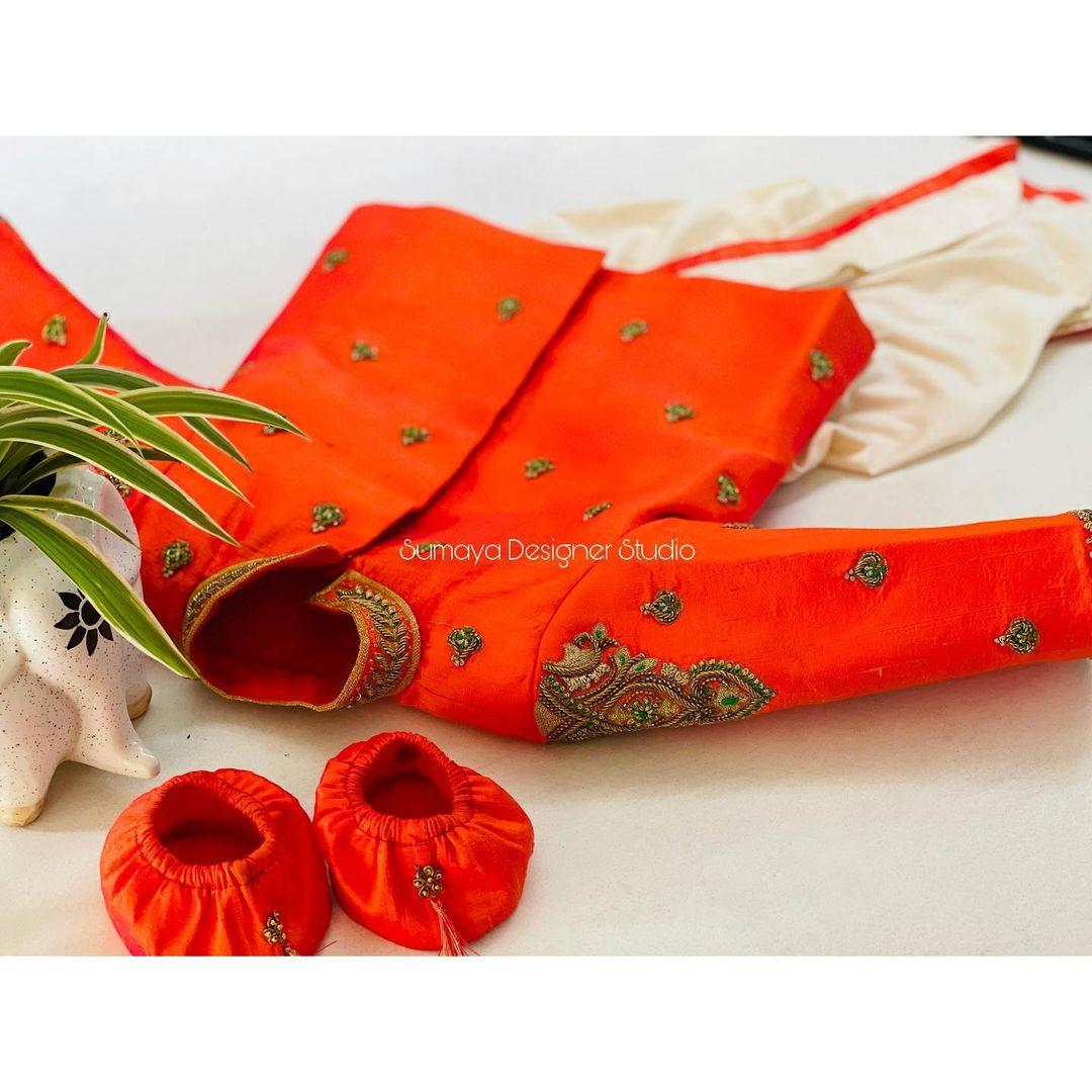 Cute little Things .. Beautiful kids doti pants and kurti with hand embroidery work.  2021-06-20