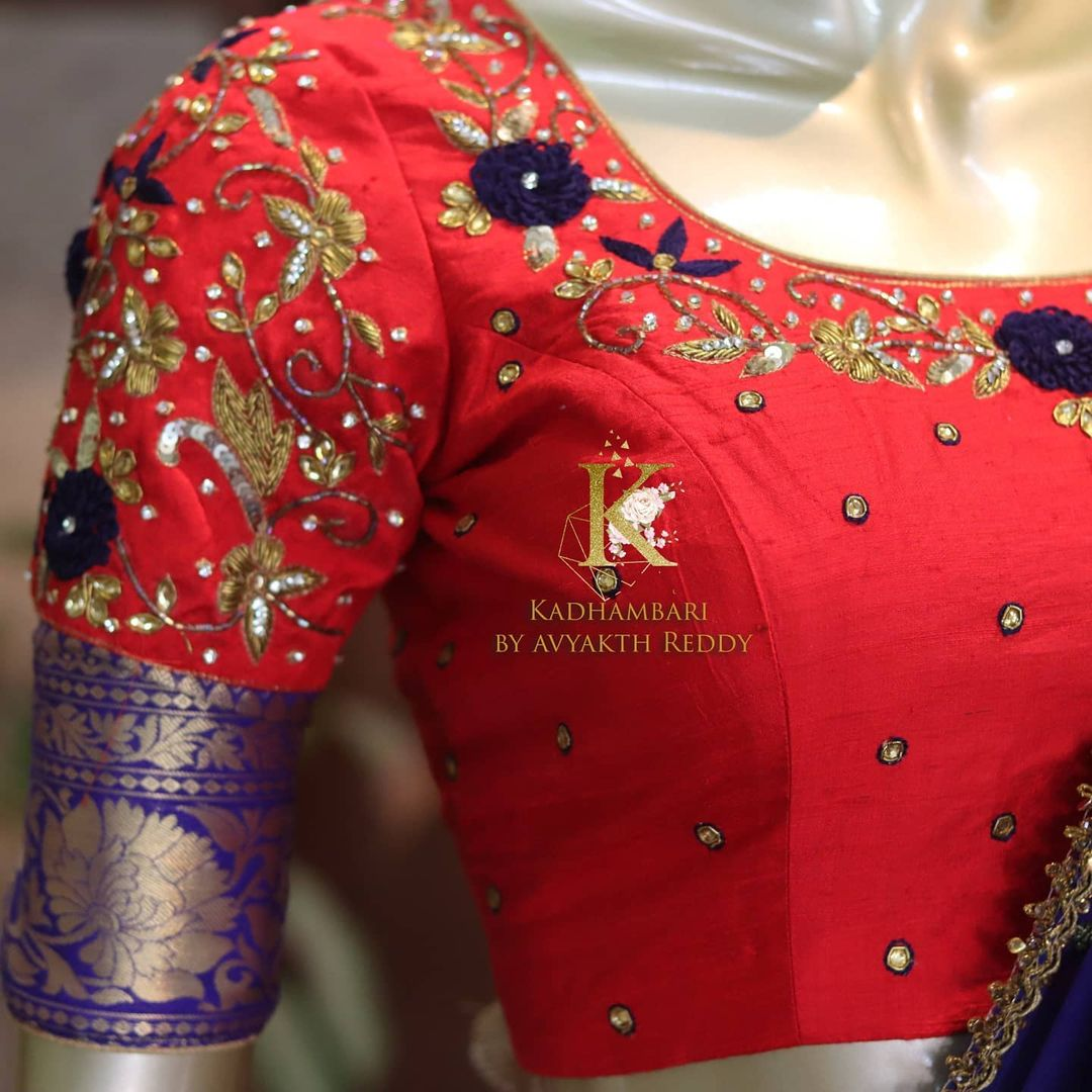 Stunning red and blue color combination silver pattu lanag voni.  This outfit is Available at Rs 12800/- 2021-06-20