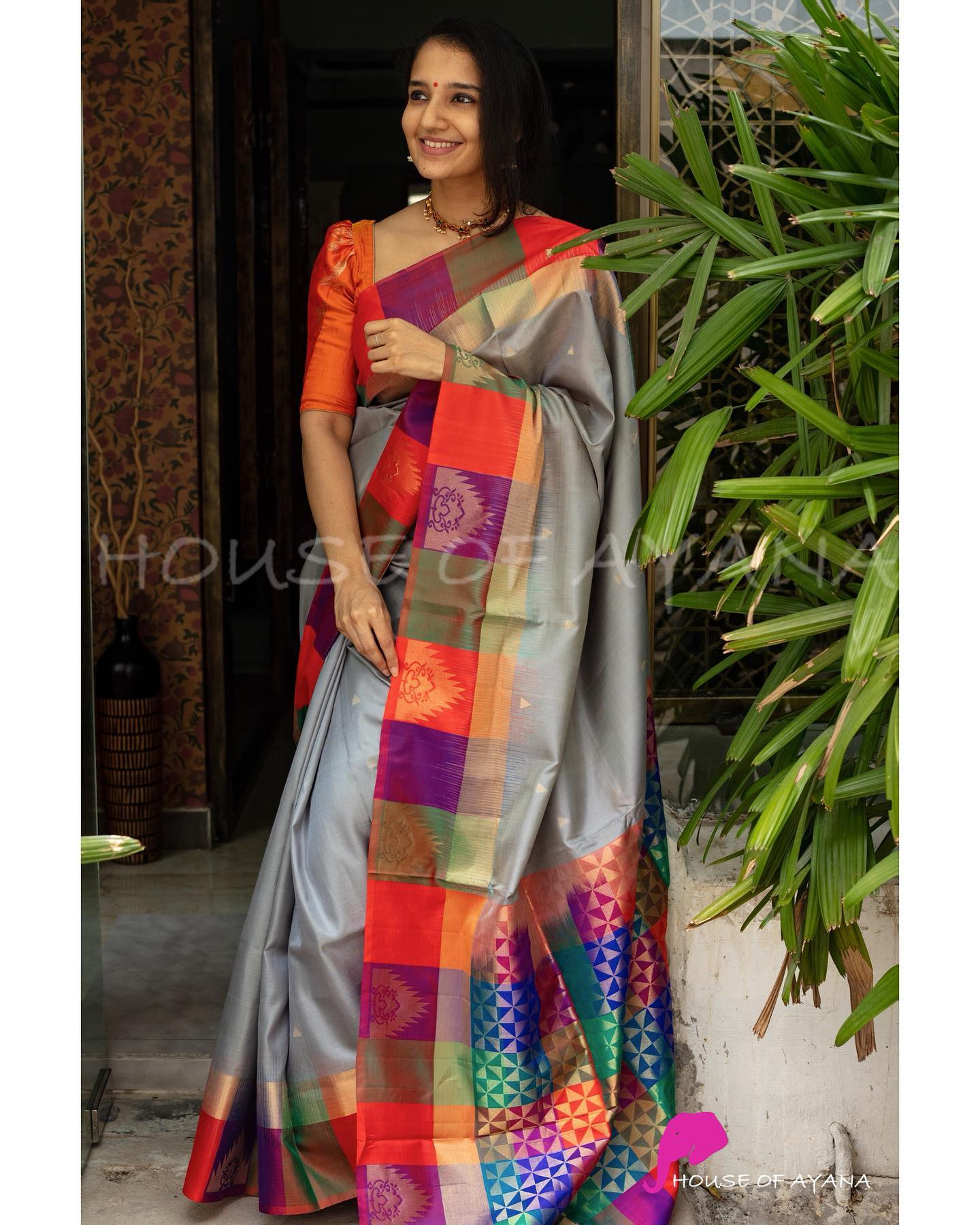DEEKSHITHA. <br> Kanjivaram light weight silk saree with contrast pallu Zari motifs woven all over Checked multi color plain (as shown in last image) The saree comes with its own blouse piece. The one worn by the model is for styling purpose only.  2021-06-21