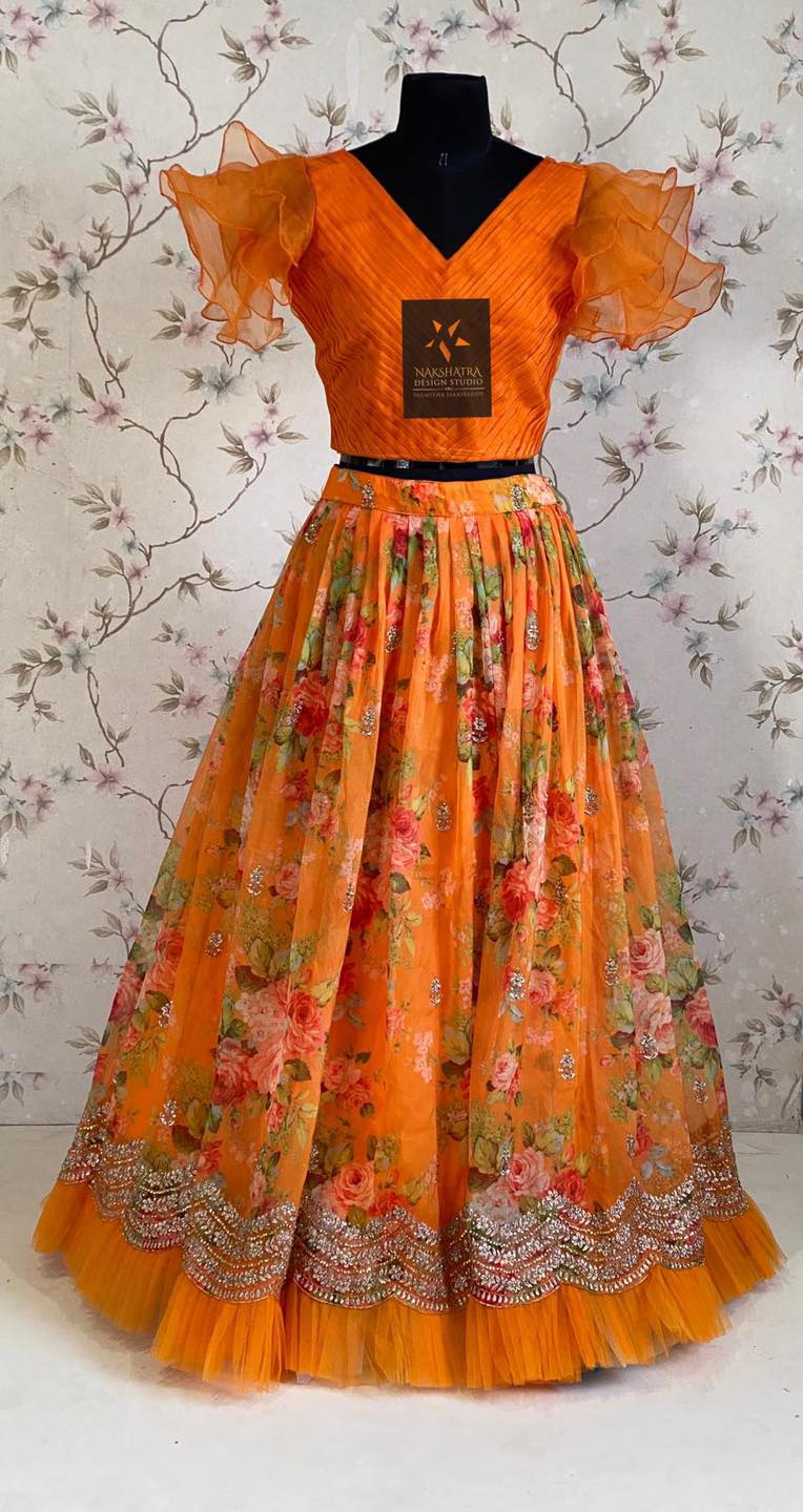 Stunning yellow Floral organza crop top lehanga. Can be made as Long frock also 2021-06-21