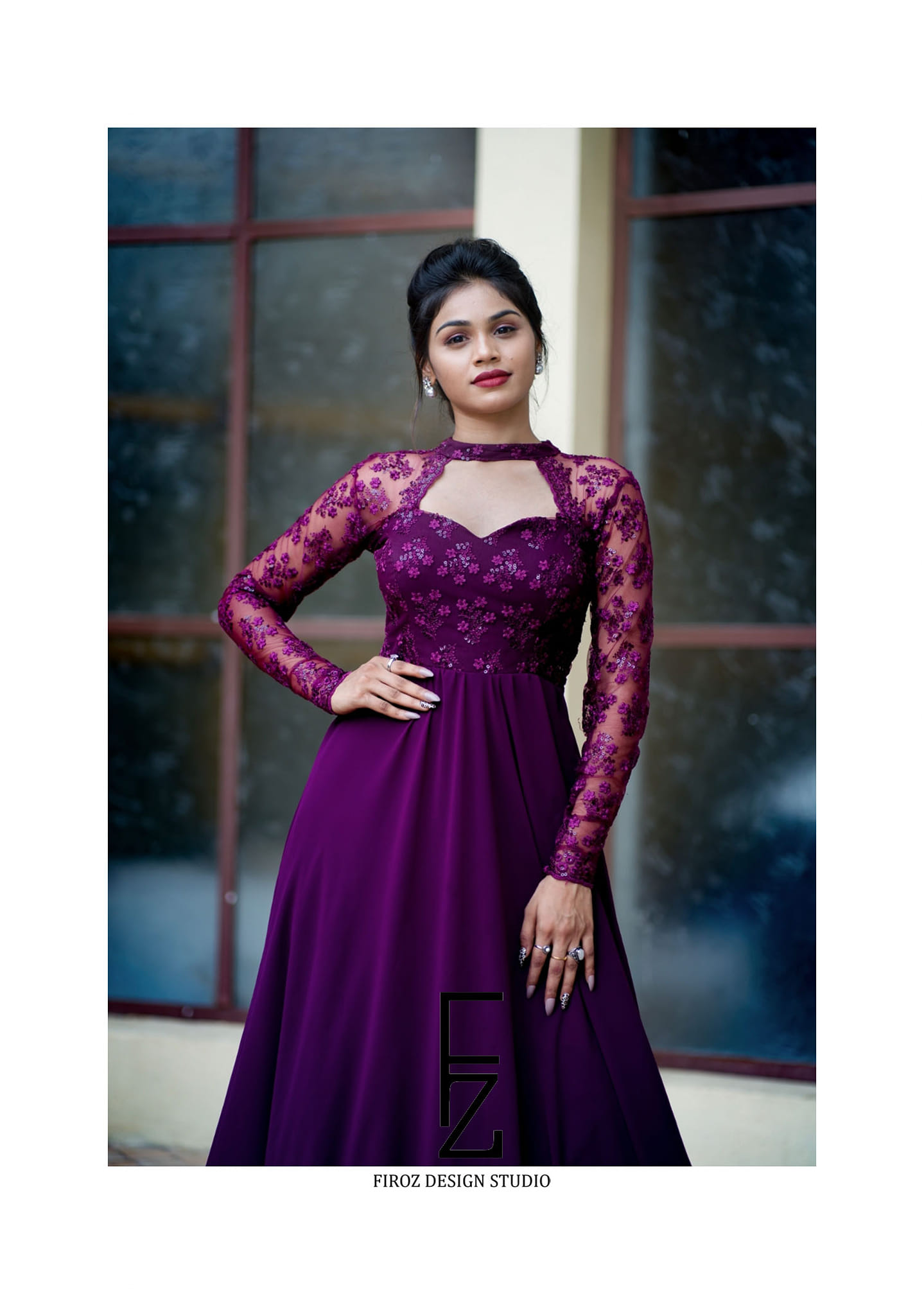 Beautiful Bhanu in firoz design studio purple long gown outfit.  They can customise the colour and size as per your requirements  To contact  : 9505340228 / 9553480491/ 8142049755 2021-06-21