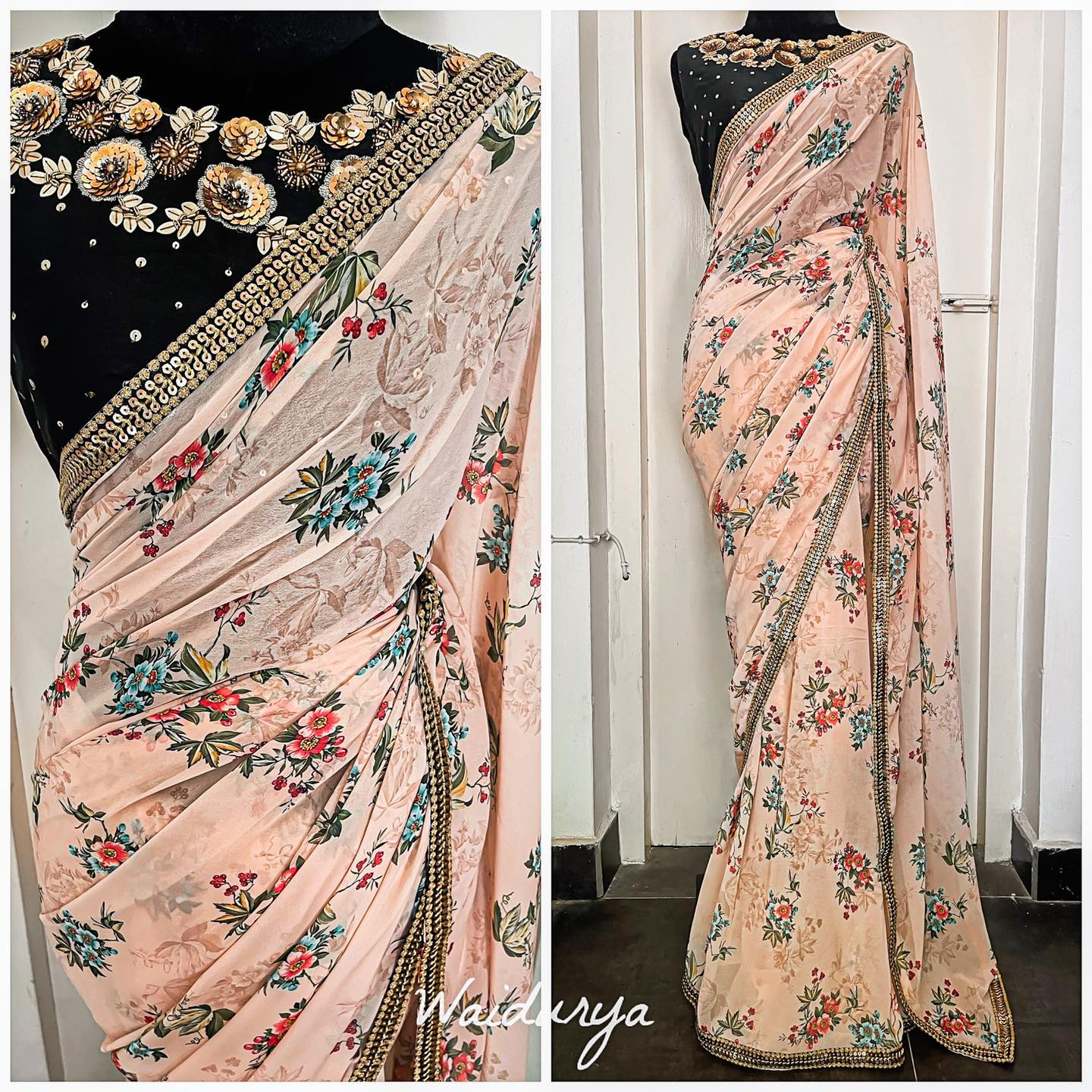 PETAL sari is one of our absolute faves right now from the nee collection. This is a floral printed georgette sari with a gold sequin embroidered border on a black raw silk. The blouse is 100% hand embroidered in zardozi and multi sequin work! 2021-06-21