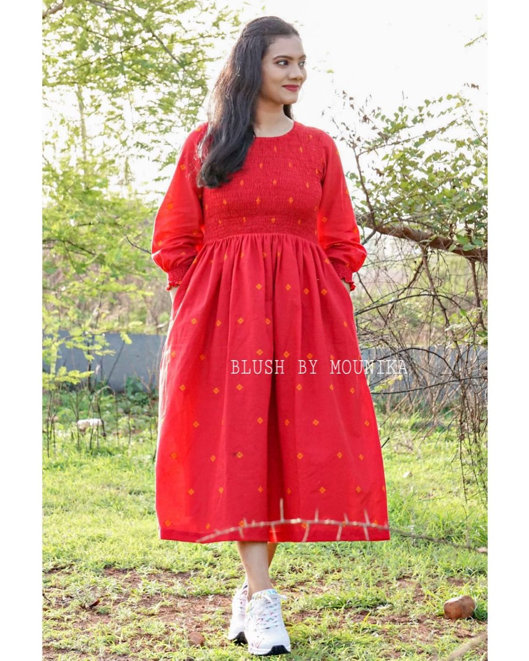 Smocked Hand-Loom. Price : ₹3500  Handloom Frock with Hand Woven buttis. Smocked Yoke part and Sleeves for that extra charm. The dress have pockets too. 2021-06-21