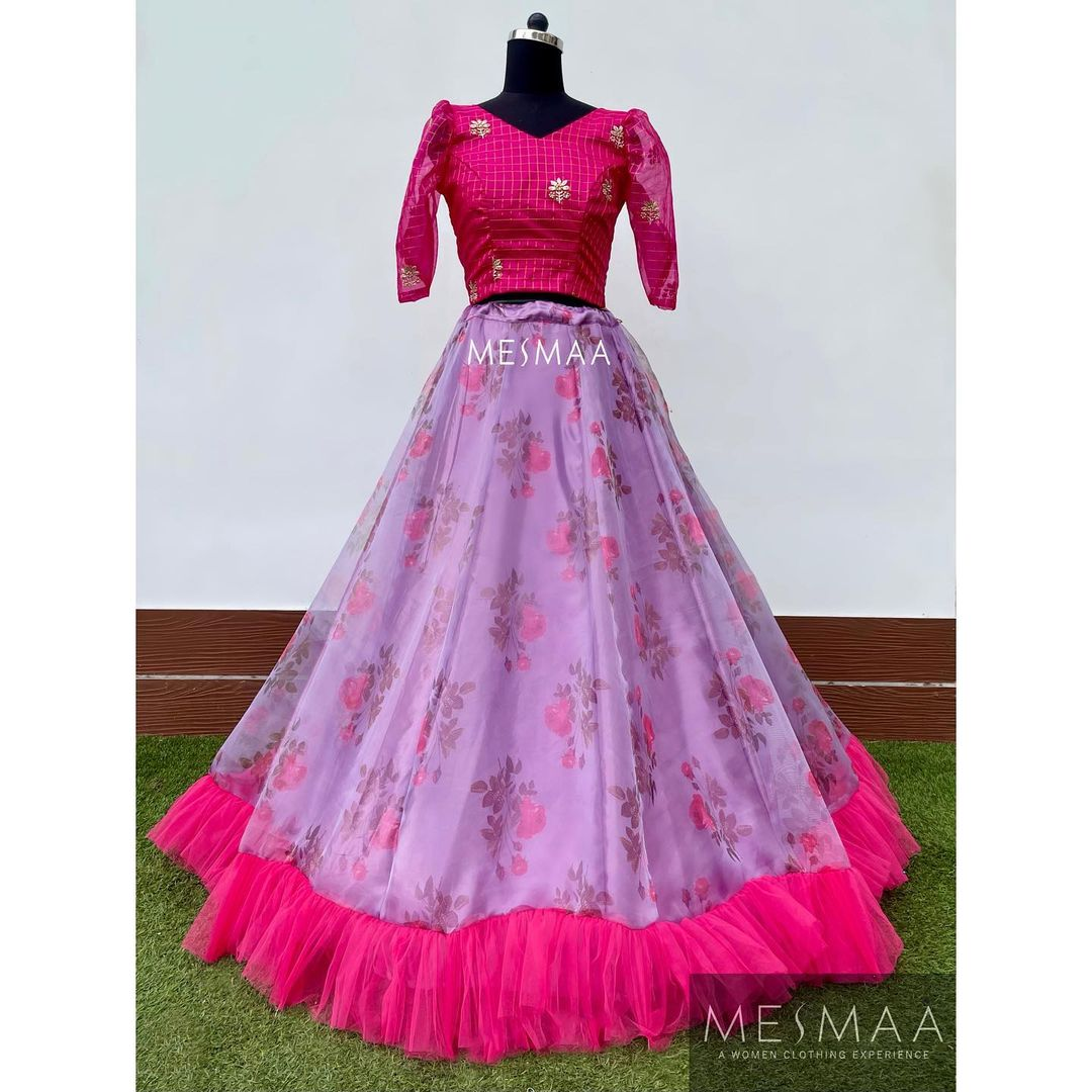 Stunning lavender floral lehenga and crop top. Some floral lehengas..!