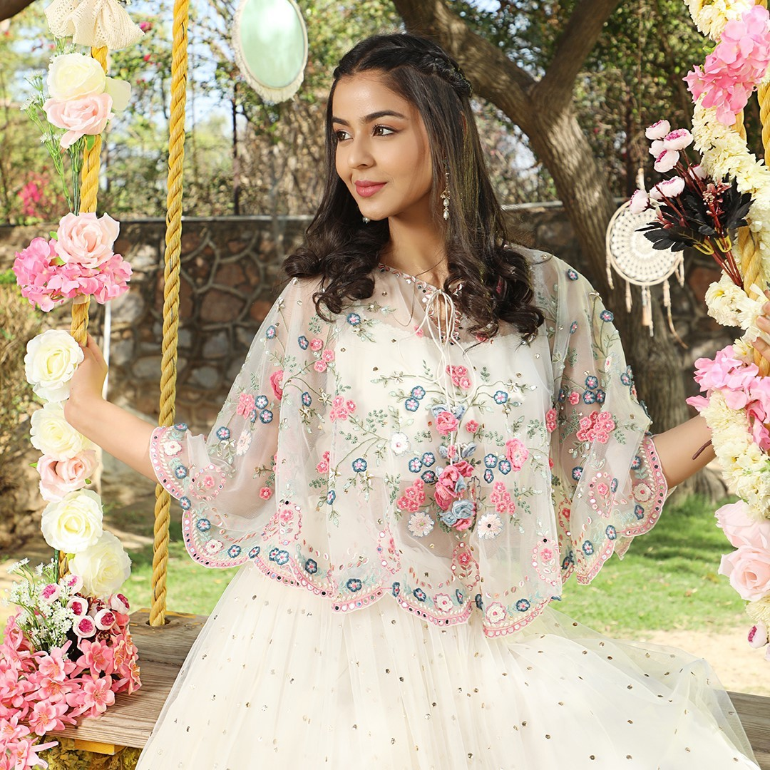 Floral Embroidery Cape !!! Stunning blush pink color cape with classy floral hand embroidery work.  2021-06-21
