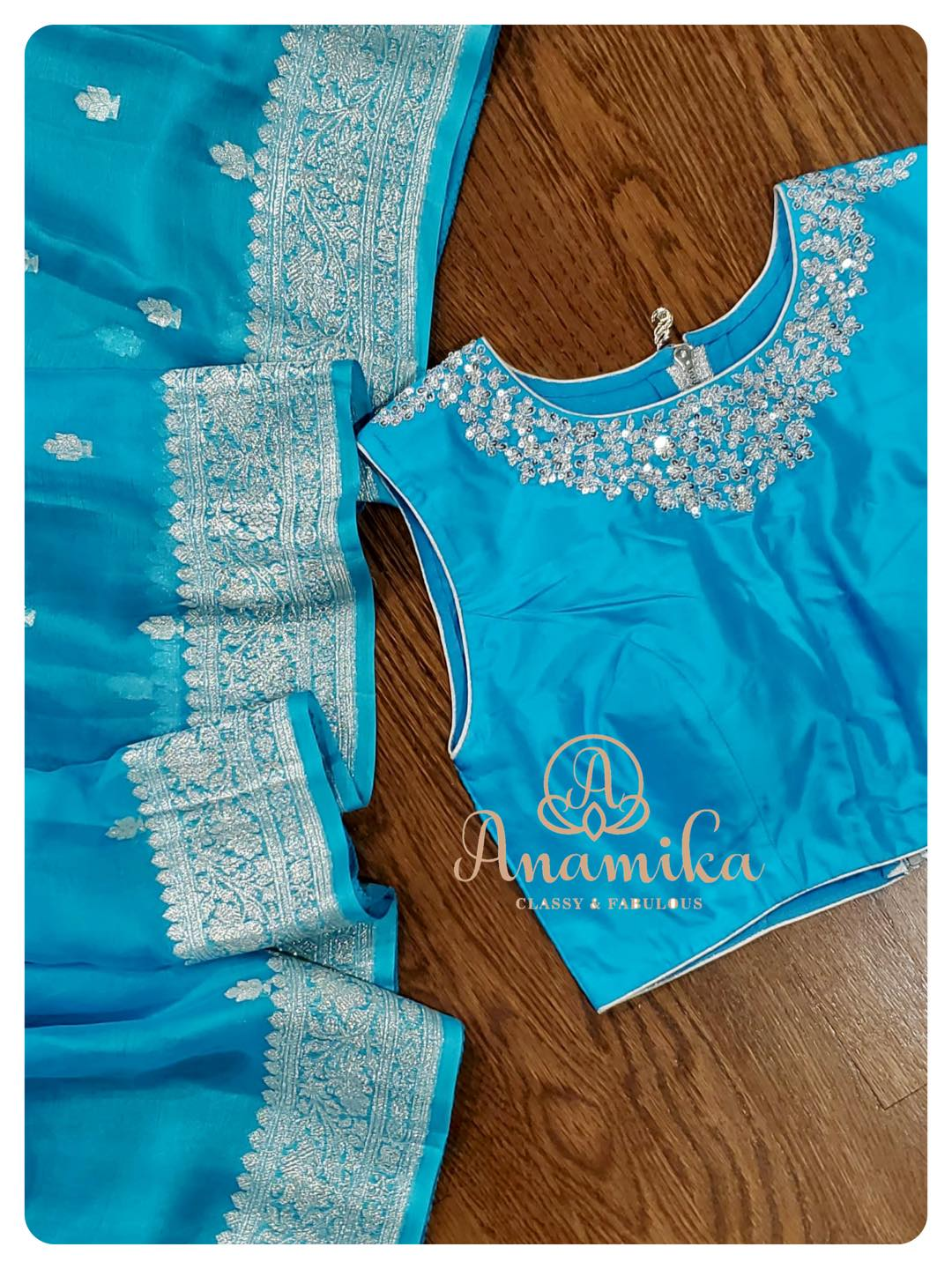 Yet another Banarasi chiffon saree in a lovely shade of blue - paired with a simple yet contemporary pure silk blouse!  DM 360-545-3636 for inquiries 2021-06-22