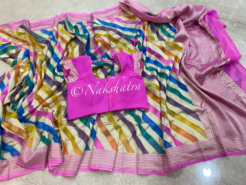 Multi color lehariya style trendy banarasi gorgette saree . Its a stunning piece 2021-06-22