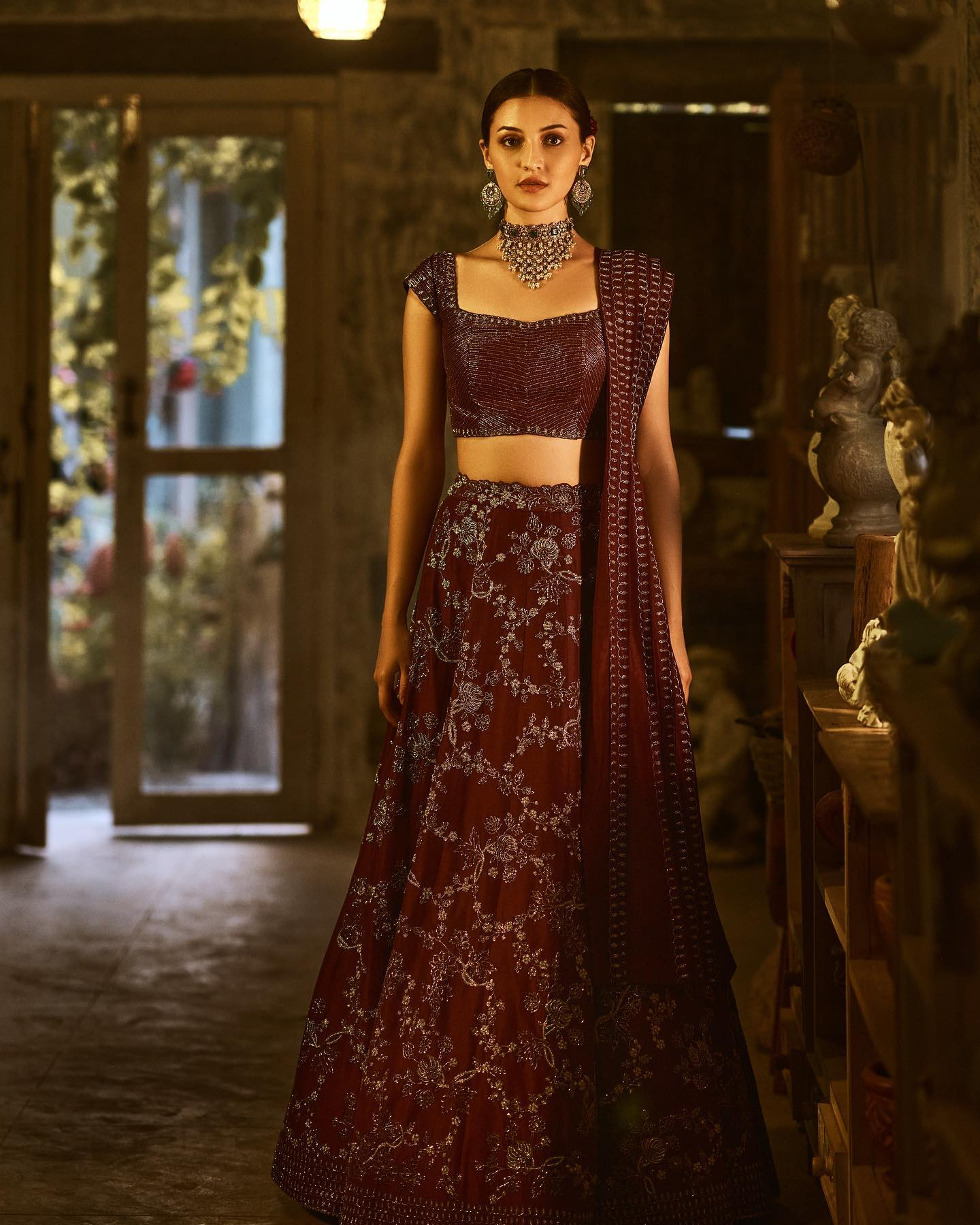 Stunning brown color bridal lehenga with floral hand embroidery work.  2021-06-22