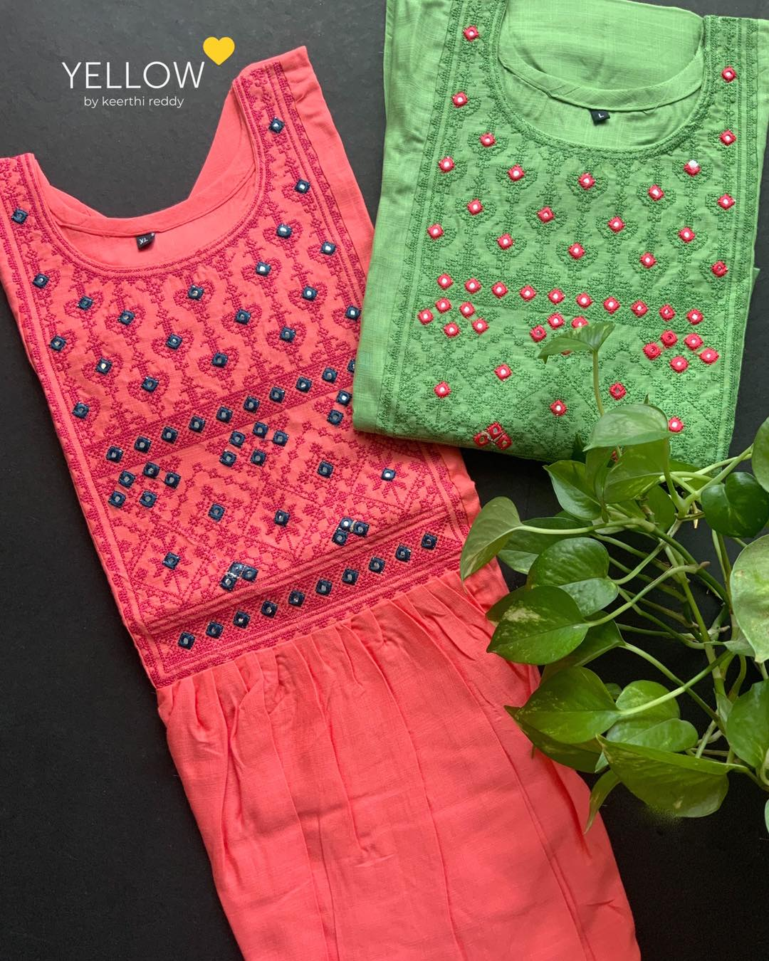 Soft rayon kurti with mirror and thread embroidered yoke . Size - L  XL  XXL  Price - 999 INR  . . Kindly WhatsApp  at 7995038888 for placing orders . 2021-06-22