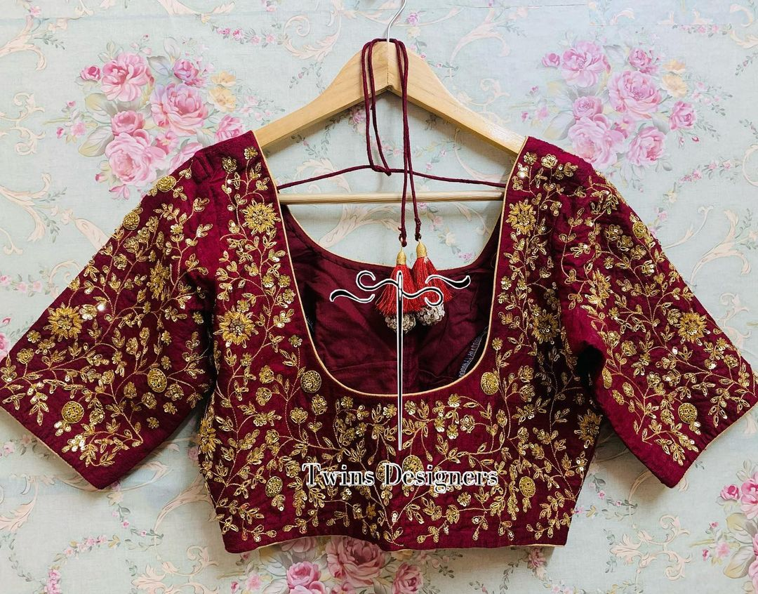 Customised maggam work wine color bridal blouse. 2021-06-22