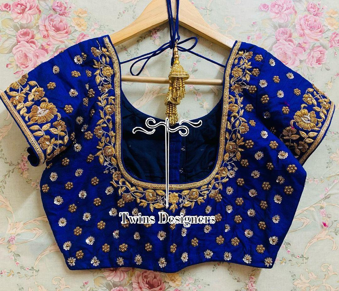 Customised maggam work Royal blue  color bridal blouse. 2021-06-22