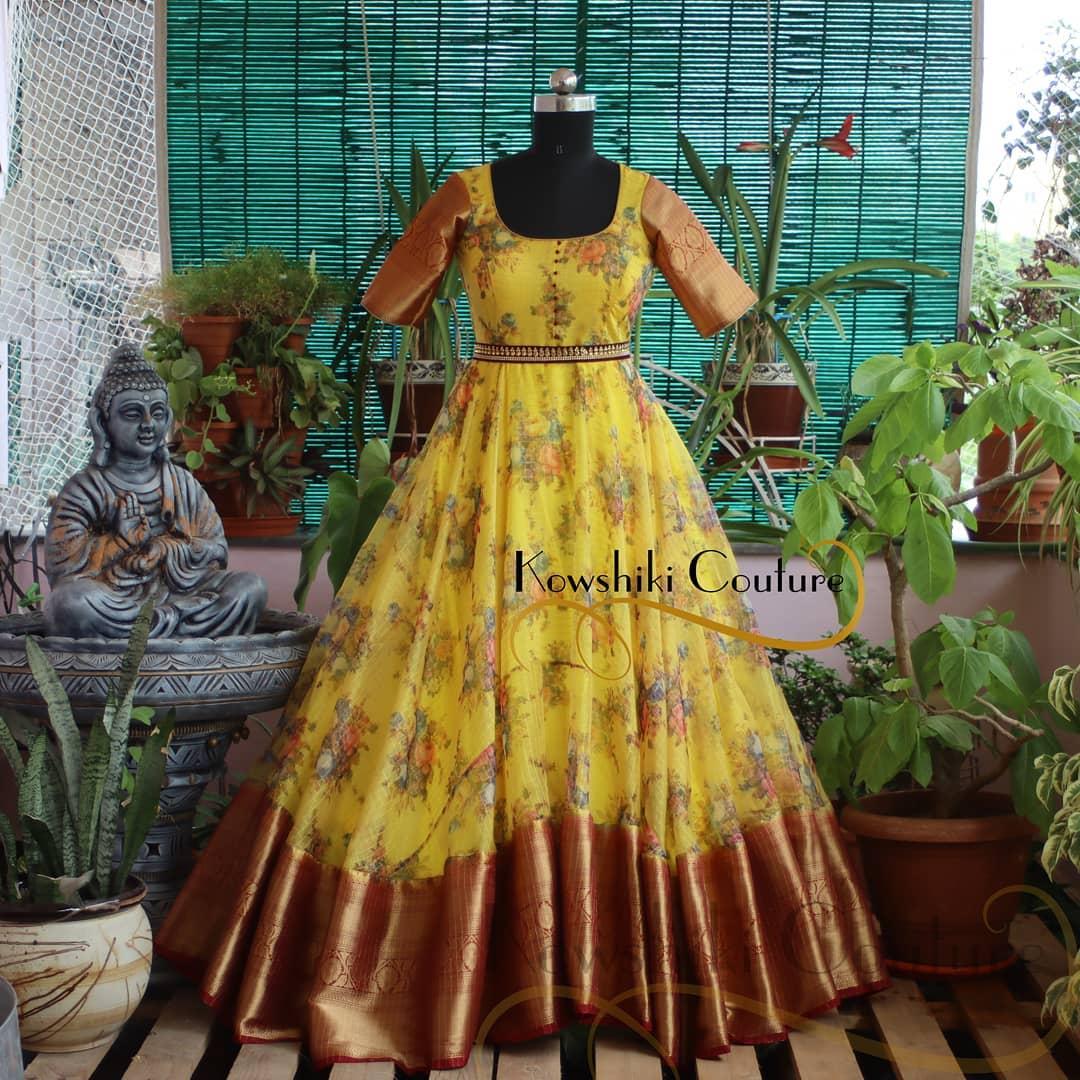 Floral Organza pattu Long Frock in Lemon Yellow !!! 2021-06-22