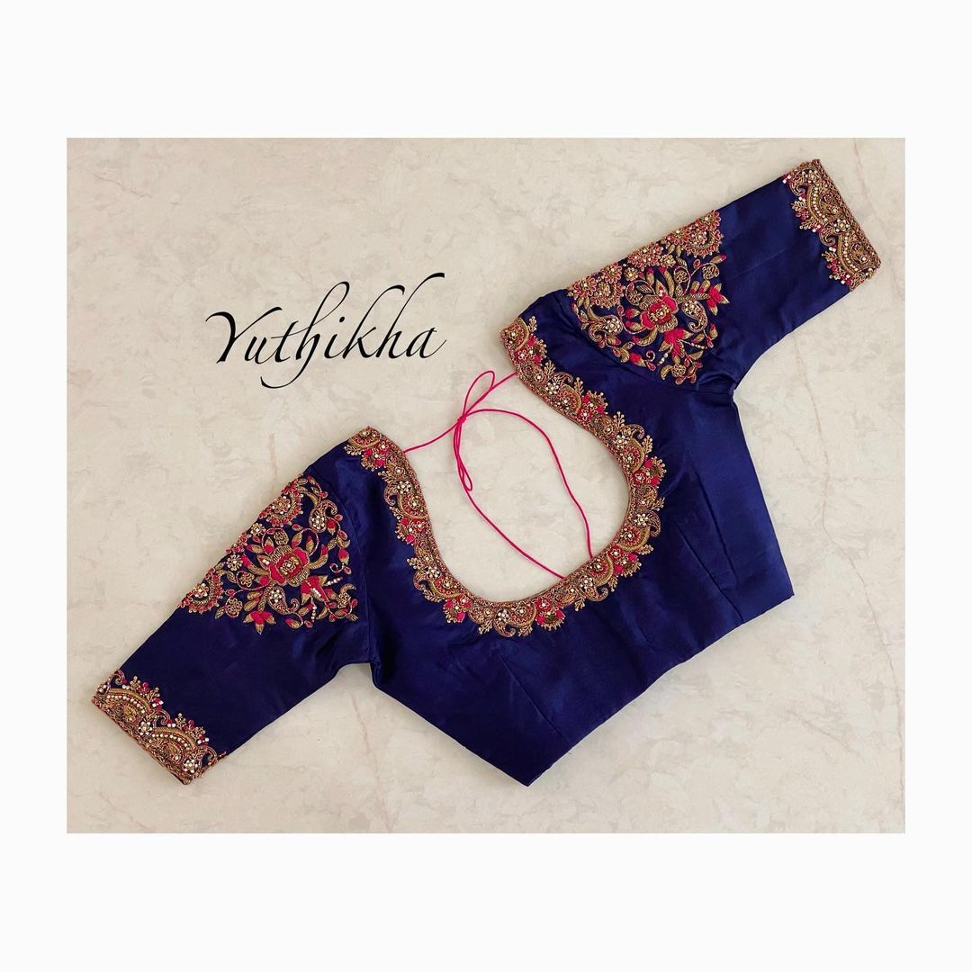 Floral zardosi simple bridal blouse !!! Stunning deep blue color bridal blouse with floral hand embroidery zardosi work.   2021-06-22
