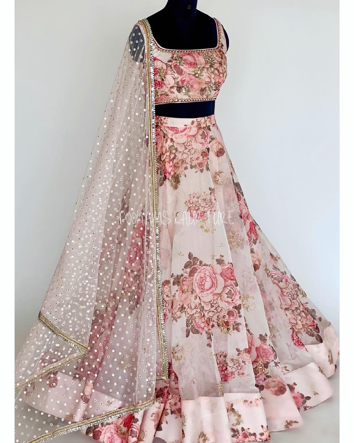 LA ROSA Outfit details -  Blouse - organza with mirror hand embroidery  Lehnga - Soft organza  Duppatta- sequins on net with mirror border . Neckline depths blouse length sleeves length etc is made to the measurements you want.  2021-06-23