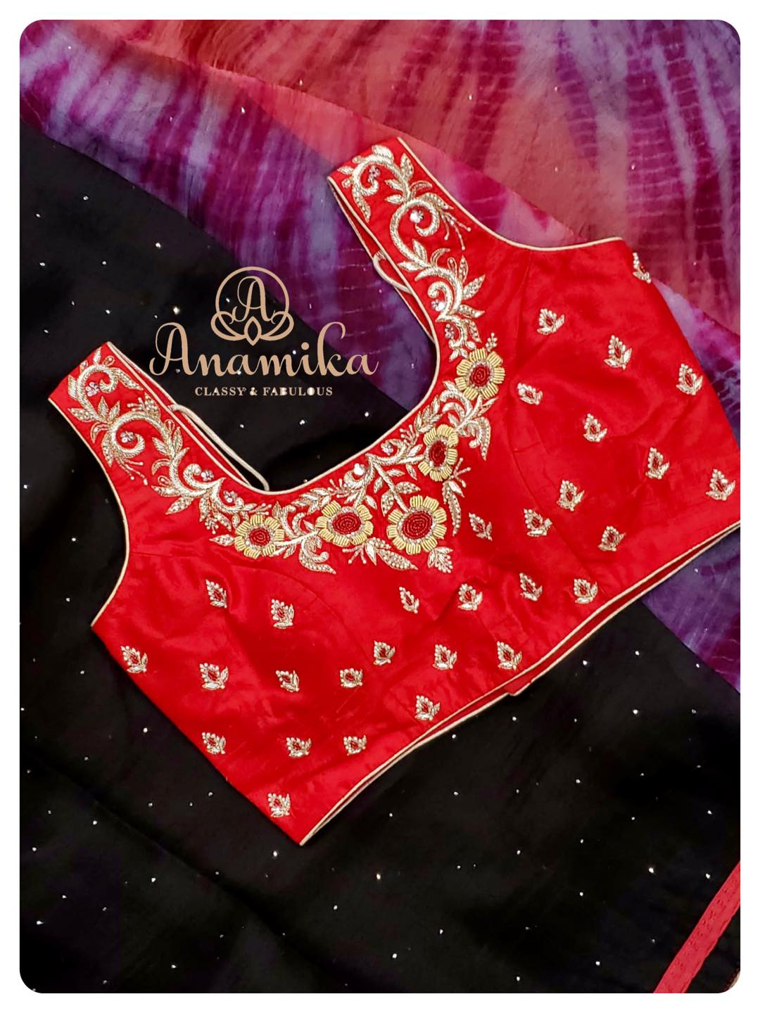 Black Organza saree with shibori pallu paired with a nice red zardosi worked blouse ! DM 360-545-3636 for inquiries  2021-06-23