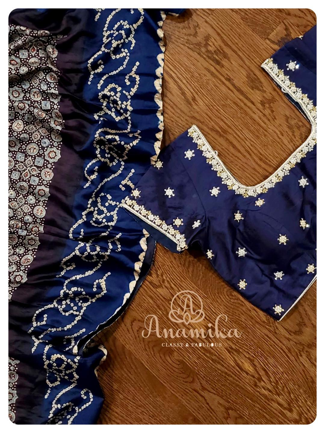 Ajrak with gharchola saree in a beautiful mid night blue color - paired with a simple yet elegant blouse.  DM 360-545-3636 for inquiries … 2021-06-23