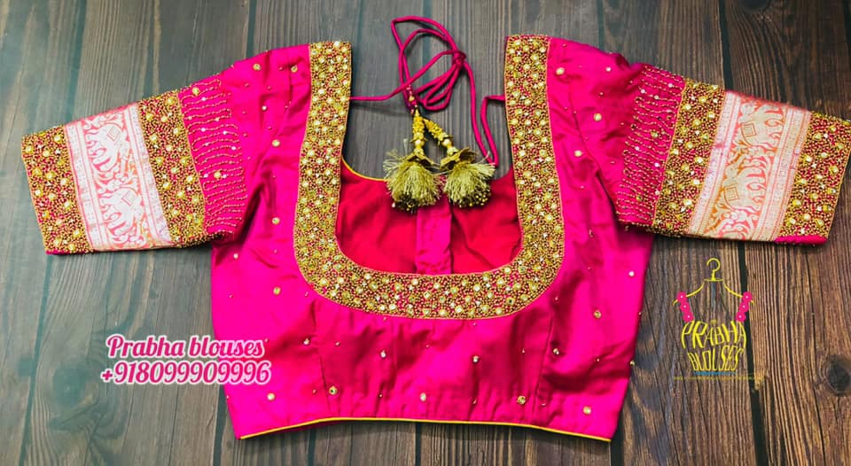Stunning pink bridal blouse with kundan and bead maggam work. Blouse elephant zari sleeves.  2021-06-23