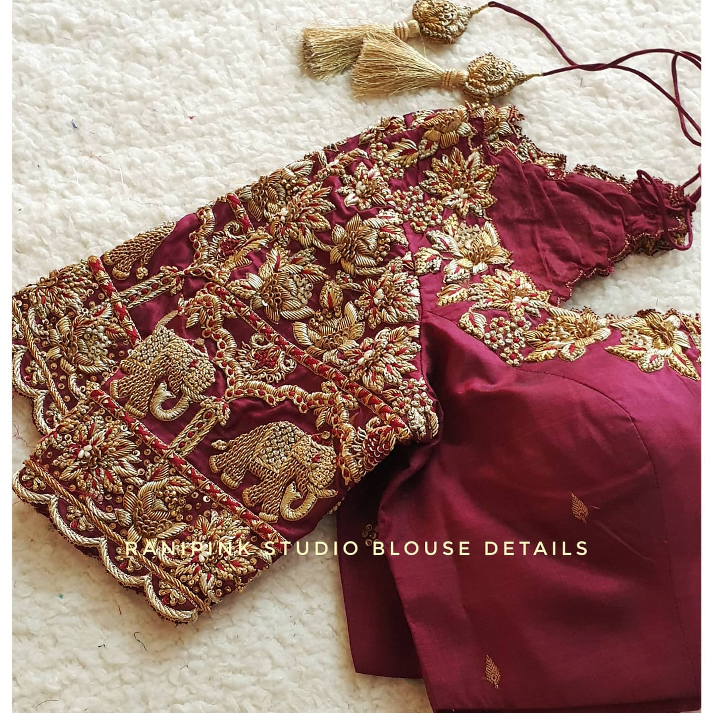 Muhurutham blouse 2021!! Stunning wine color wedding blouse with floral and elephant heavy maggam work.  For appointments call or whatapp us at 8884620620 2021-06-23
