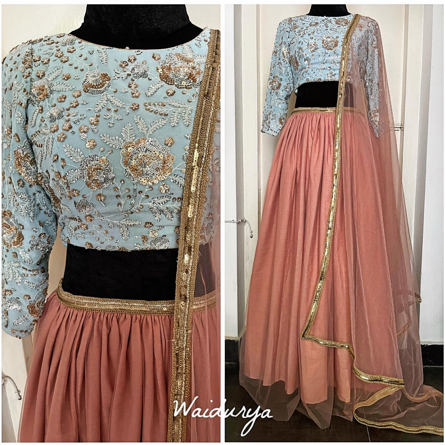 pure georgette powder blue blouse with intricate luxurious sequin thread work and french knot embroidered blouse. The lehenga is a hand dyed soft net one in peony pink with a raw silk lining.  The dupatta is a matching soft net with a gold sequin worked border.  2021-06-23