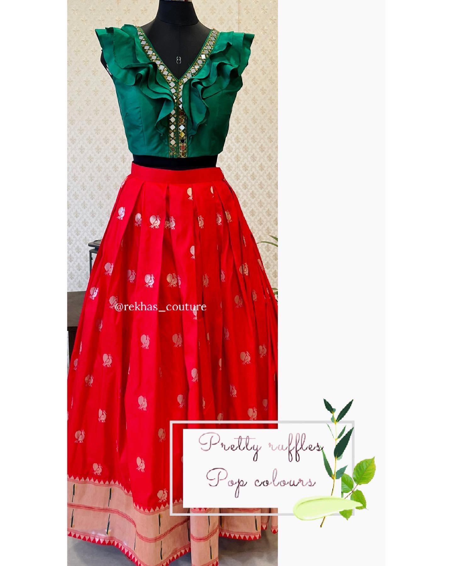 Stunning red color paithani style skirt and ruffle crop top. 2021-06-23