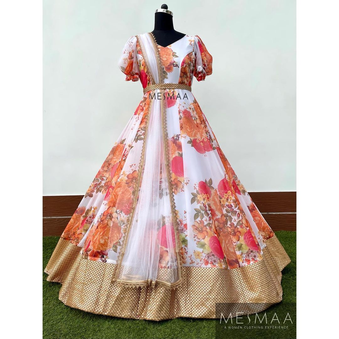 Some floral outfits..! Beautiful floral long frock with net dupatta. Perfect for photoshoots and parties..!  2021-06-23