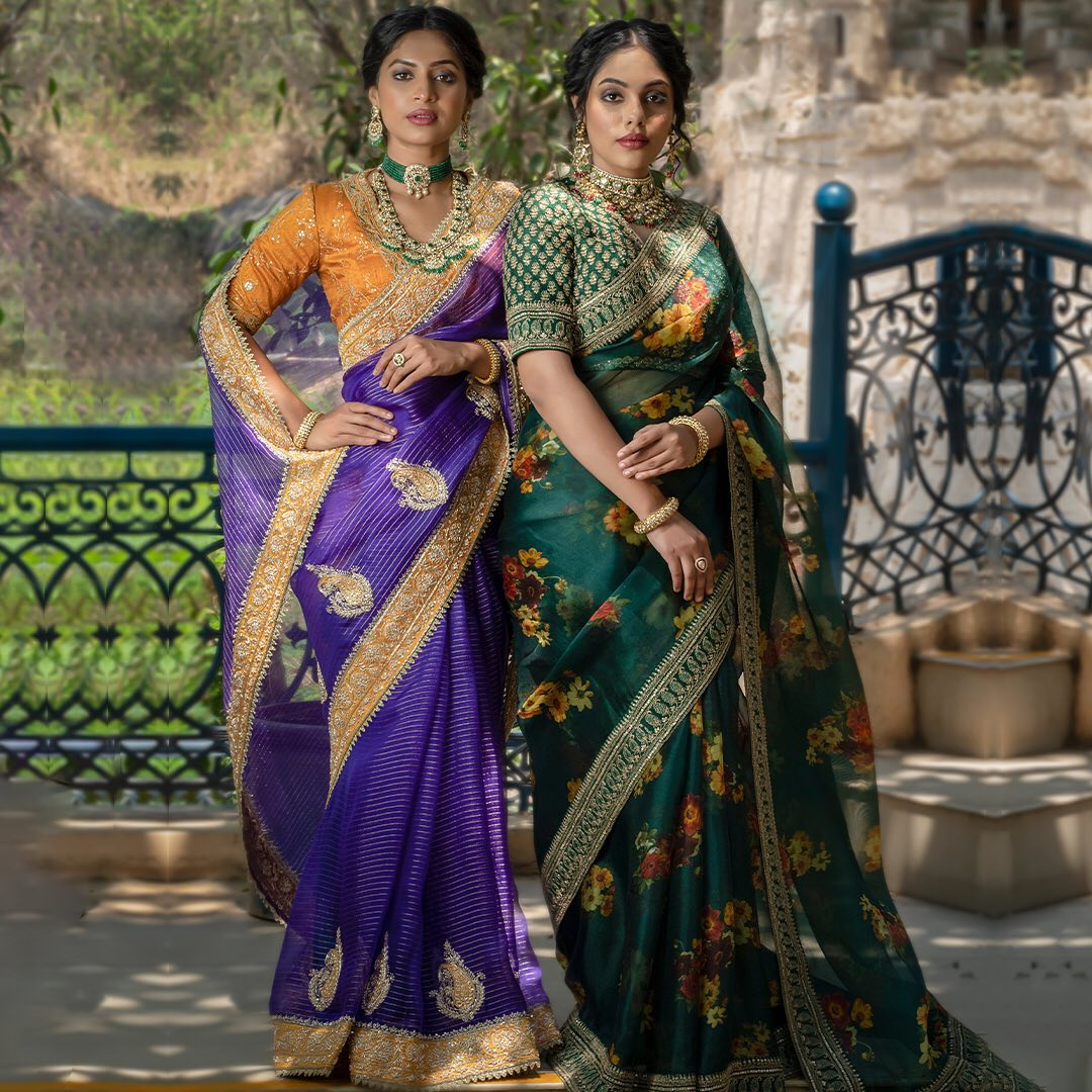 Light and extravagant Organza sarees !!! Light and extravagant Organza sarees that encloses you by easy tastefulness and tons of appeal. Parade your elegant looks by hanging one of light organza goodness hued in the brilliant shades of Violet & Sacramento Green adorned with digital prints and rich embroidery on a grand event where you need to shuffle numerous undertakings while resembling extraordinary. 2021-06-23