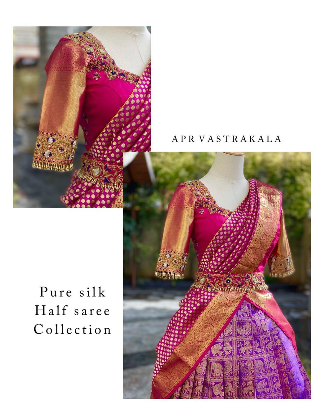 Pure kanchi pattu halfsaree !!! Gorgeous purple pure big boarder kanchi pattu lehenga and pink blouse with pure pattu dupatta. Blouse with gold jari sleeves. Blouse with hand embroidery work.  2021-06-23
