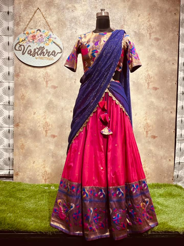 Price : 9000 INR Fabric : Semi silk with paithani style border halfsaree. To order WhatsApp 7013728388 2021-06-24