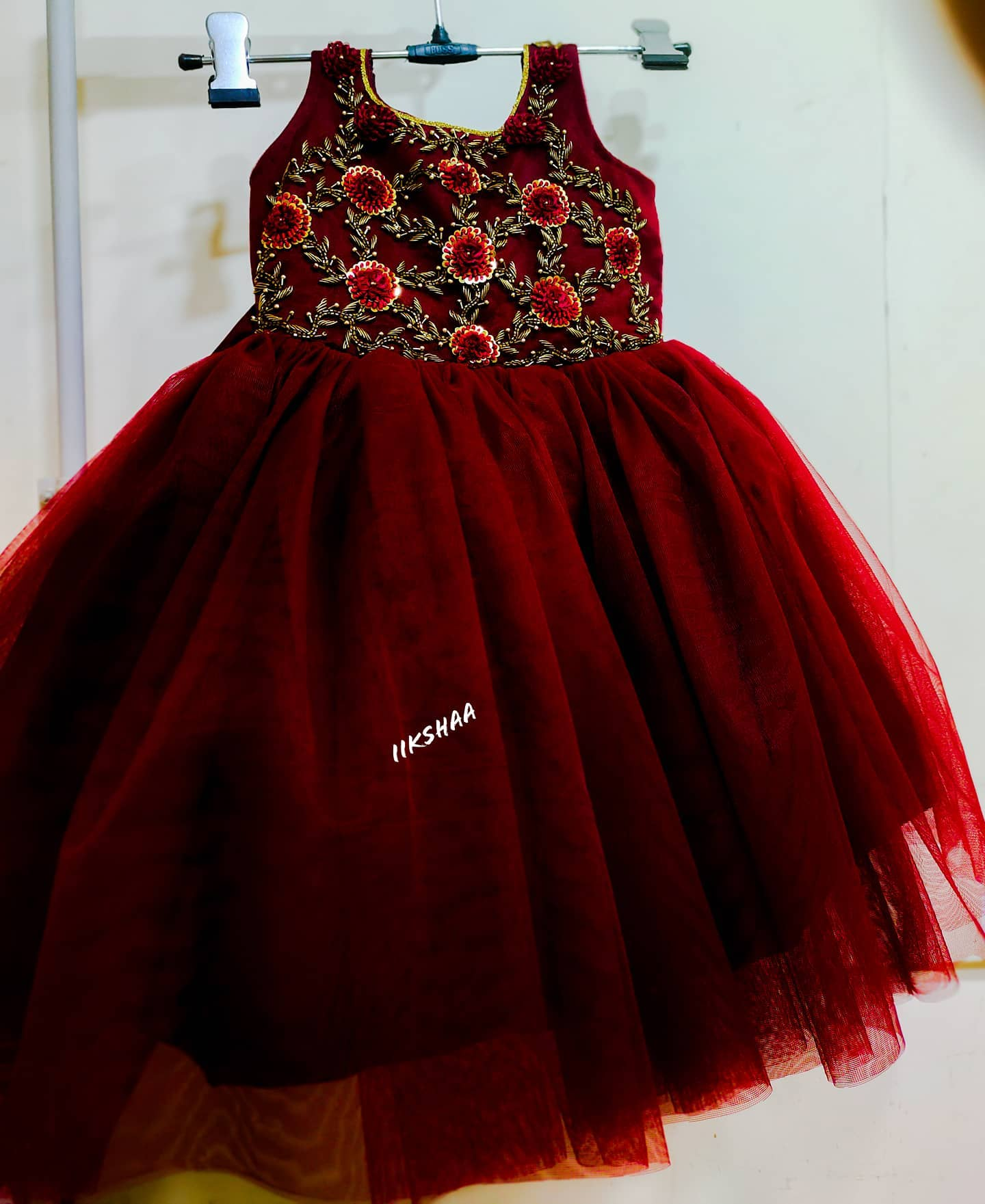 Stunning maroon color kids frock with floral hand embroidery work on yoke.  2021-06-24