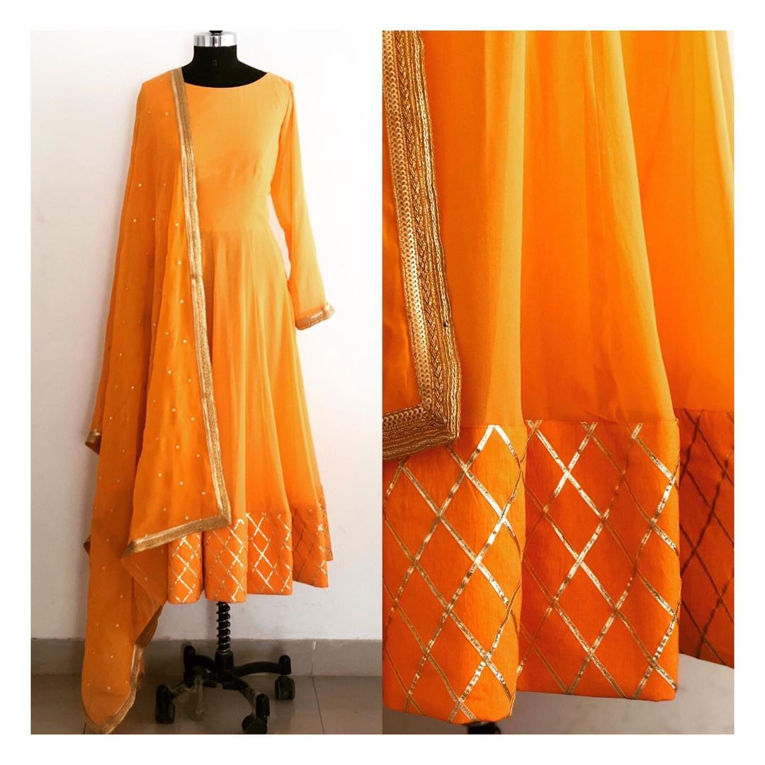 Gota work anarkali in pure georgette. Can be customised in any color or size. 2021-06-24