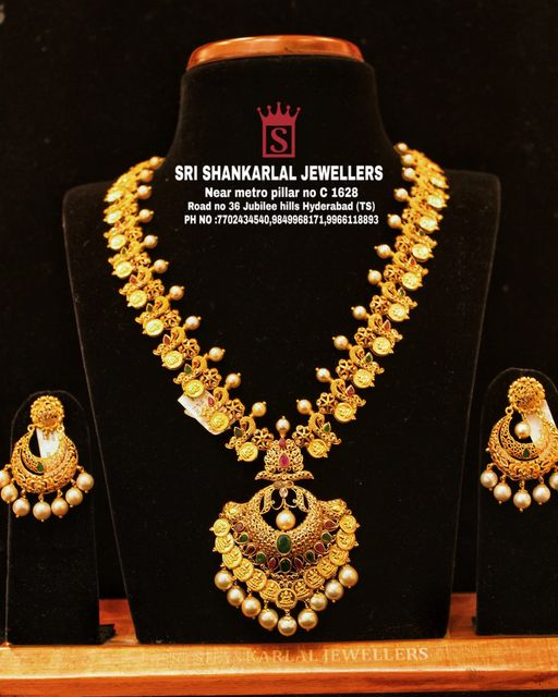 Latest Laxmi long Haram and Earrings in light weight and heavy looking JEWELLERY 2021-06-25