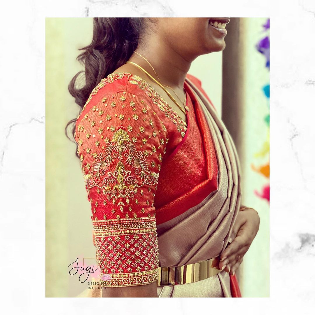 Gorgeous red bridal blouse with stoned and bead aari work. 2021-06-25
