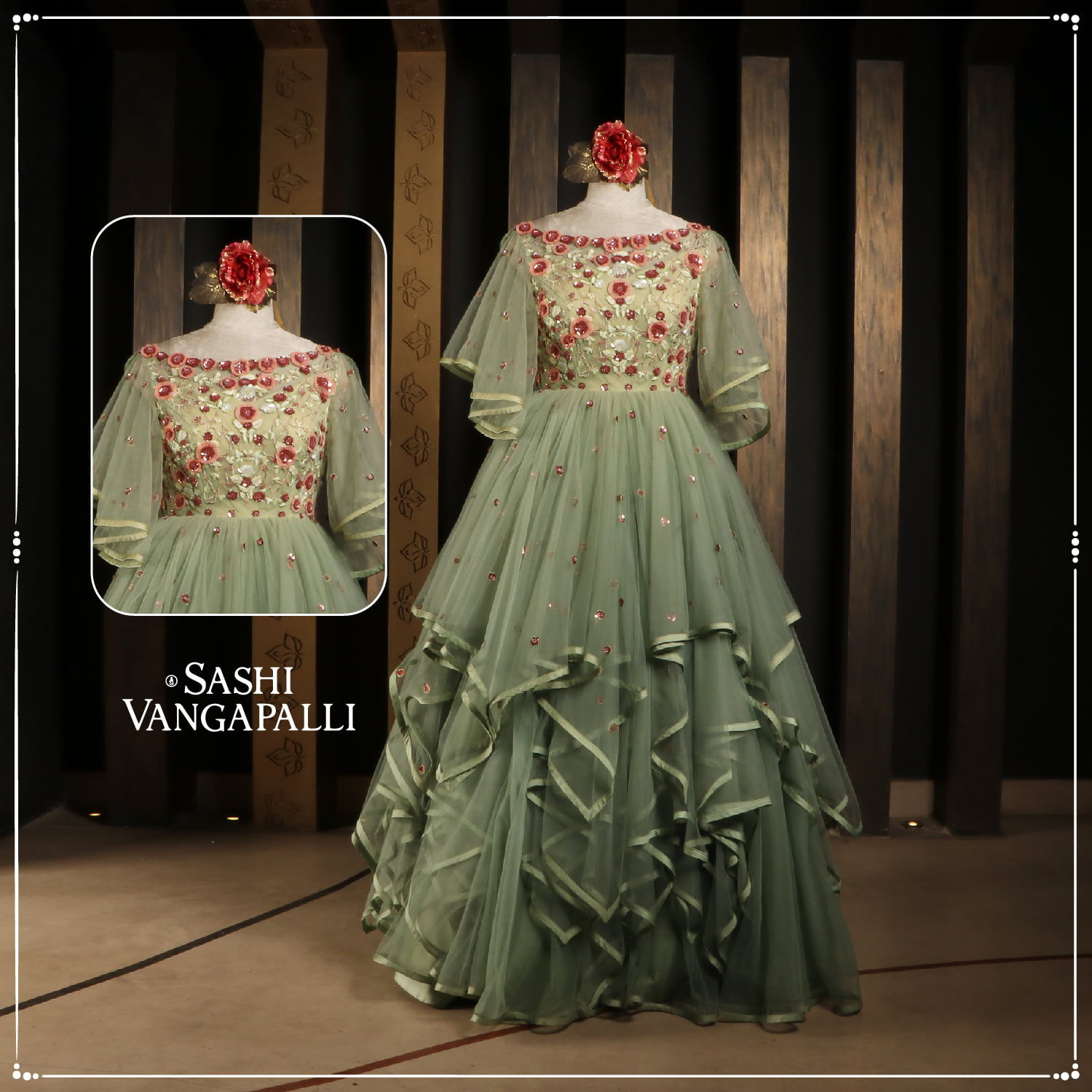 From fun and flirty to chic and sophisticated frolic frilled Indo-western gown with an eclectic rush of subtle shade and a touch of vibrant red embroidery in the corset.  Give it a twirl around and leave everyone enchanted with frills.   2021-06-26