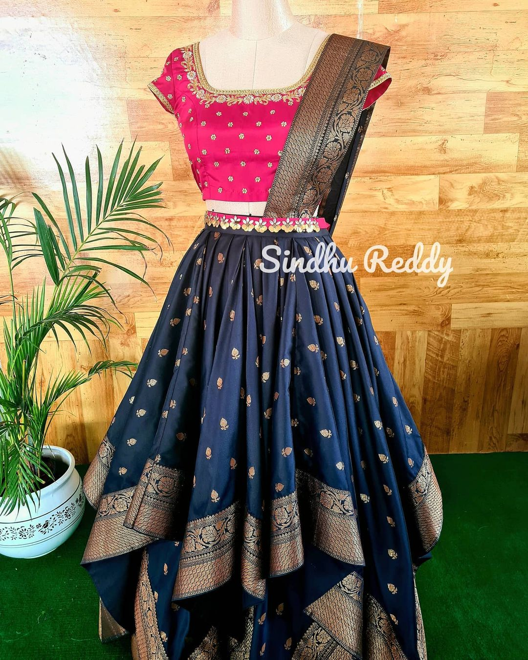 Stunning deep blue color pattu asymmetrical lehenga and blouse with net dupatta.  I believe vintage old school glamour is to be preserved as a style lesson for all eras to come 2021-06-26