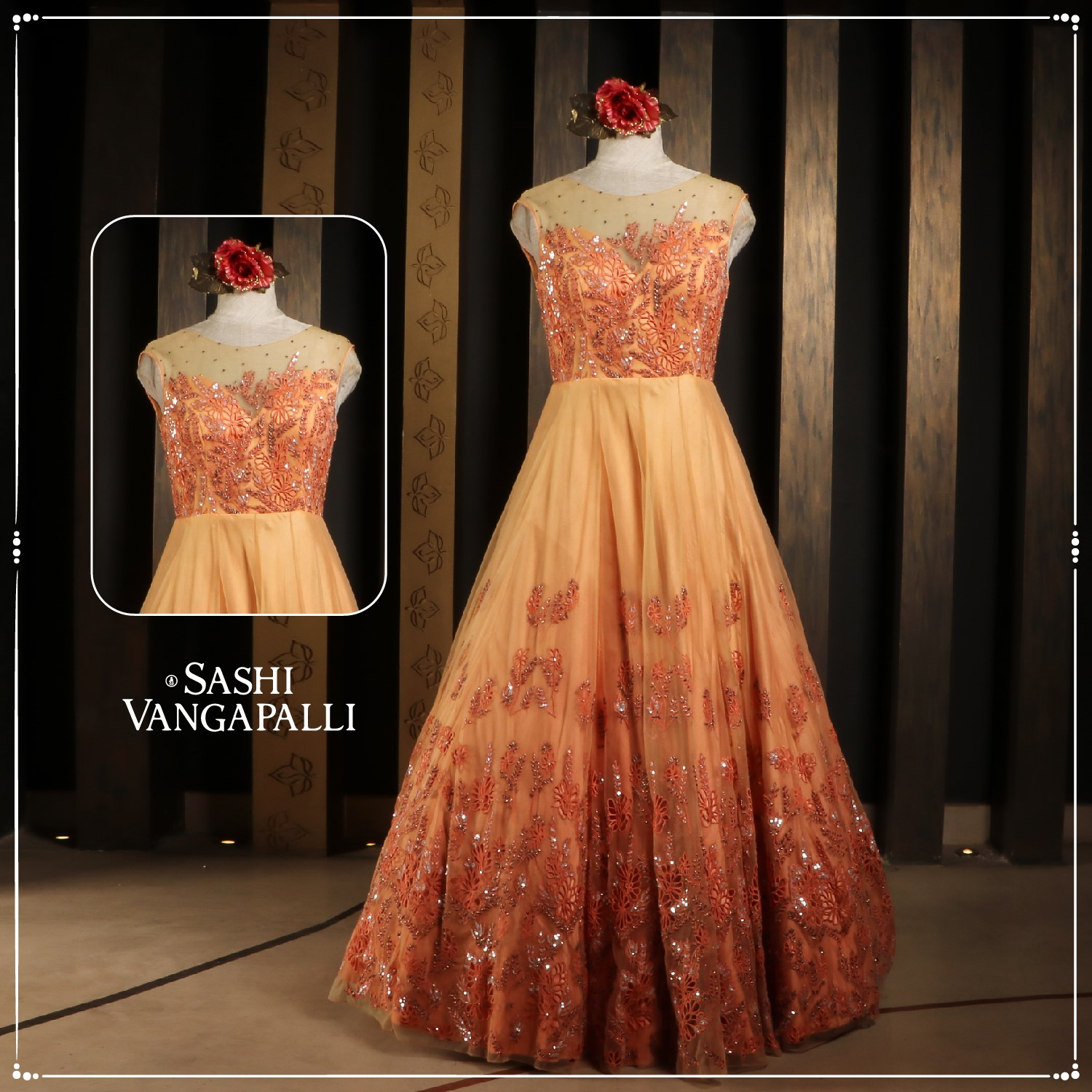 A luxe confection of the net with intricate details underneath luxury silhouette with flowered intricate embroidery basking its stunning art.  Personifying modern women with abundance with the exuberance of summery shades.  Explore our range of Indo-western wedding wear statement styles.  For Orders Contact: +91 9000777796 2021-06-27